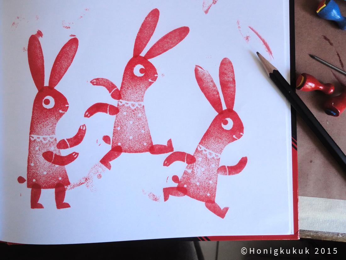 gestempeltes pringendes Kaninchen