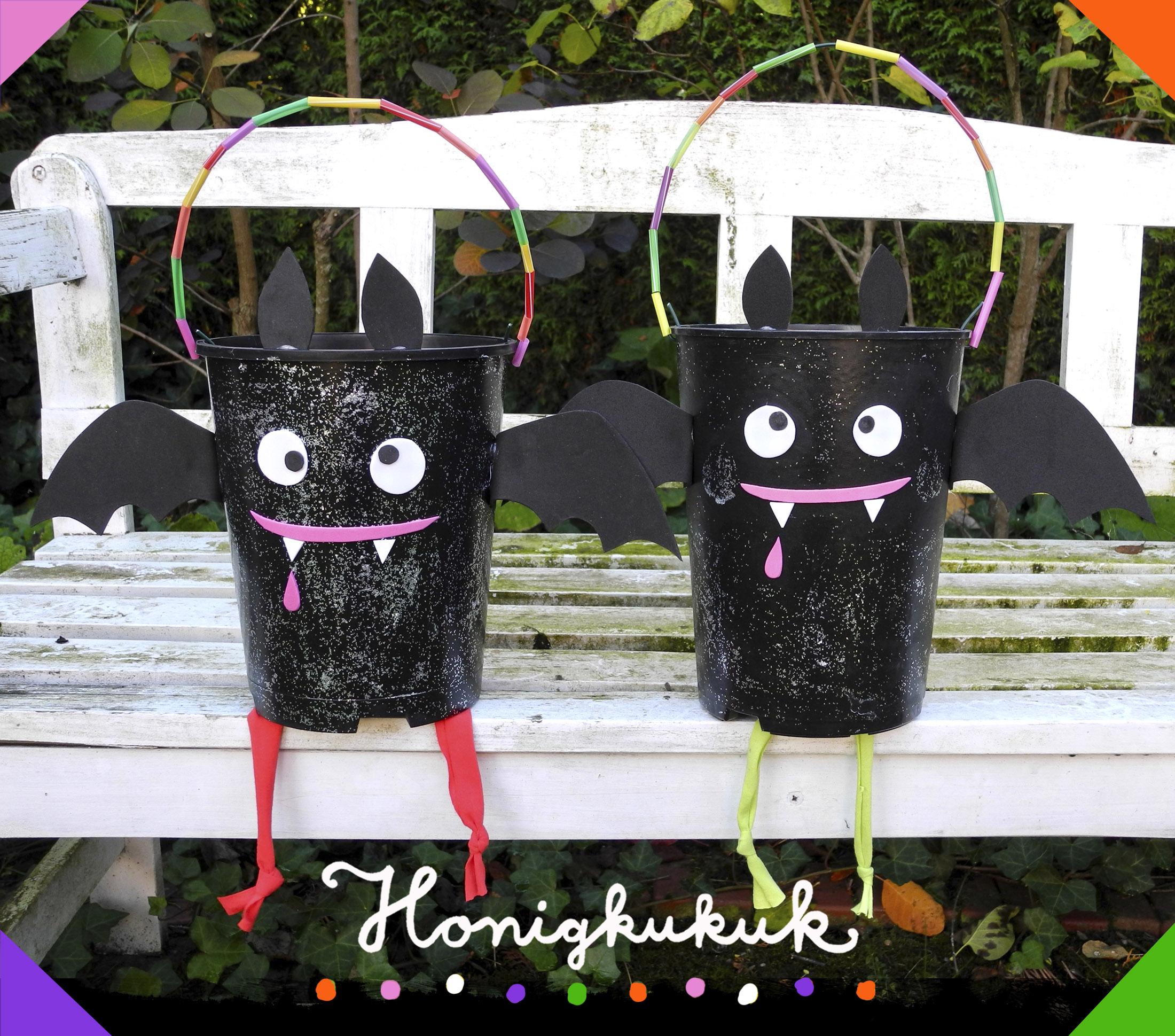 Halloween-Bastelidee Süßigkeiten-Sammeleimer