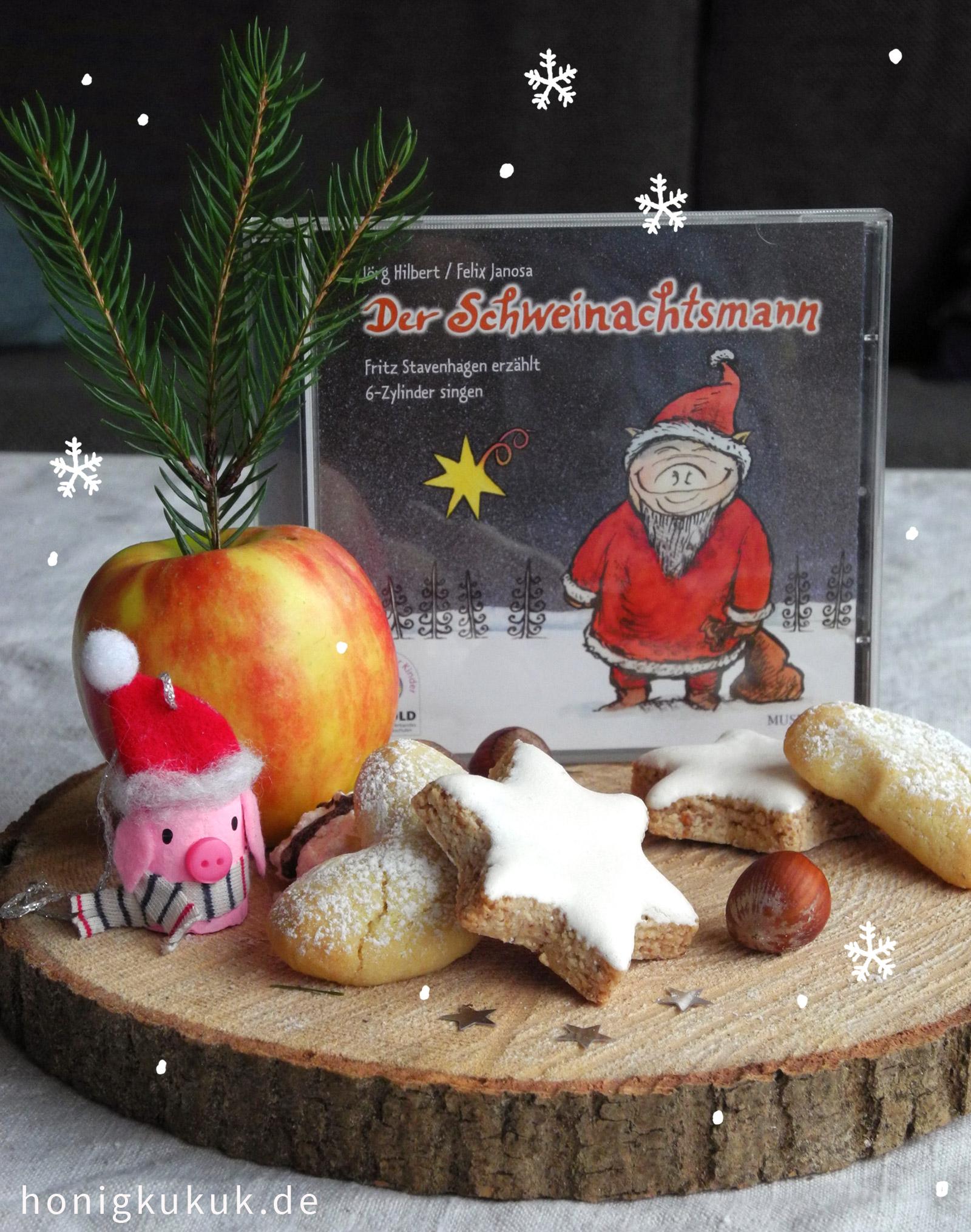 Weihnachtsbaumschmuck aus Korken, Inspiration: CD vom Schweinachtsmann