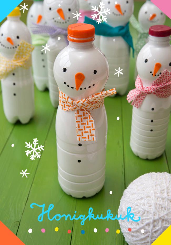 Schneemann-Kegelspiel aus Plastikflaschen basteln
