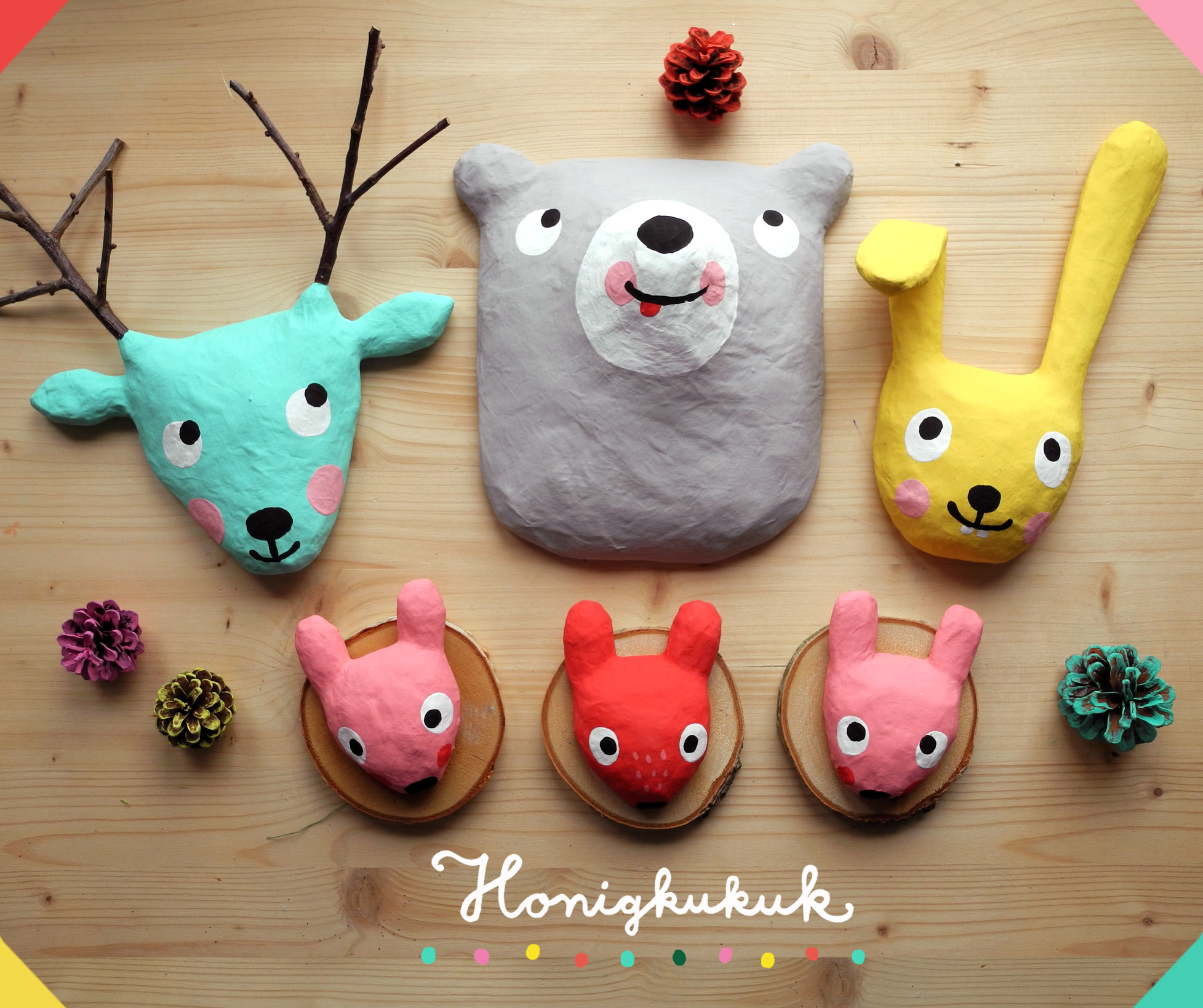 Pappmaché Tierköpfe, Kinderzimmer, Dekoration