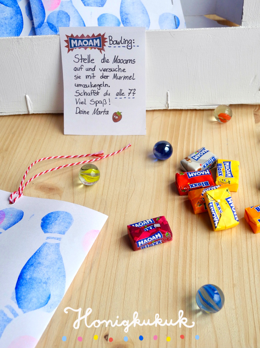 Bowling-Kindergeburtstag Mitgebsel, Bonbon-Bowlingspiel basteln