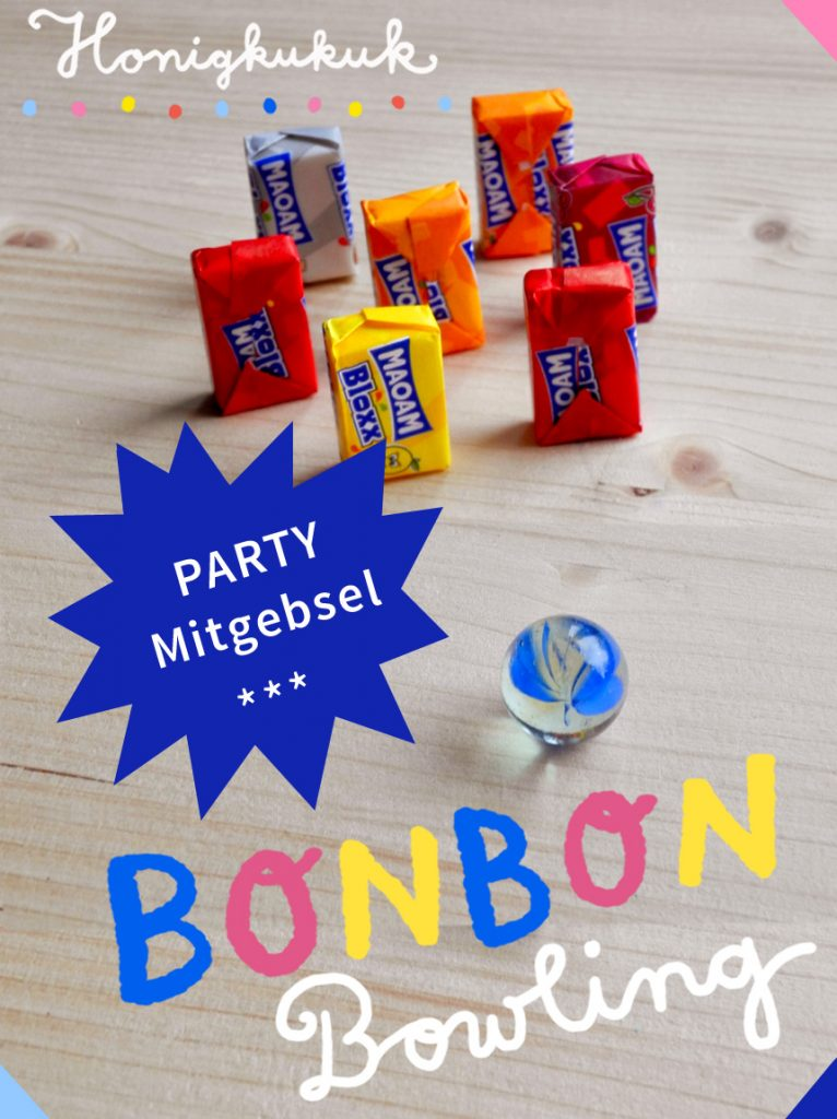 Bonbon-Bowling, Mitgebsel für einen Bowling-Kindergeburtstag basteln