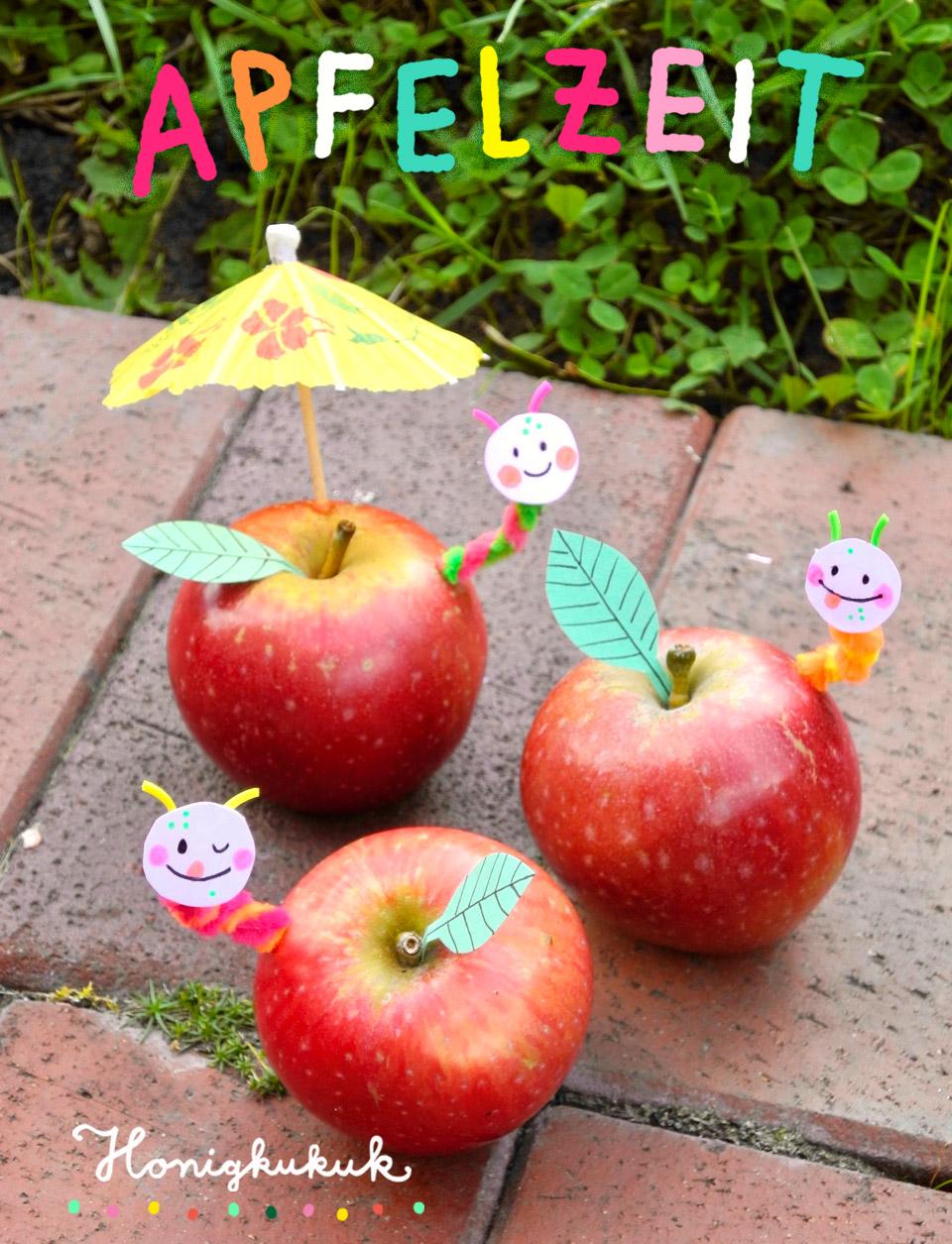 Mit Äpfeln drucken und basteln, Apfel mit Wurm, Herbstdekoration zur Apfelzeit