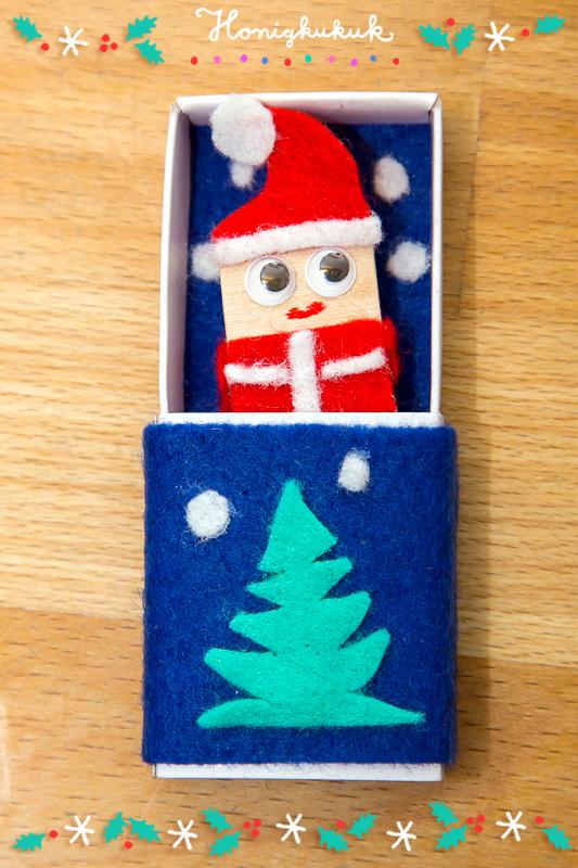 Warten auf Weihnachten, Bastelidee für Streichholzschachteln: Weihnachts-Taschentroll basteln