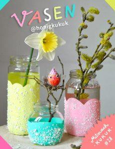 Pastellfarbene Vasen aus Schraubgläsern, Mitmach-Kukuk, DIY, Bastelanleitung,