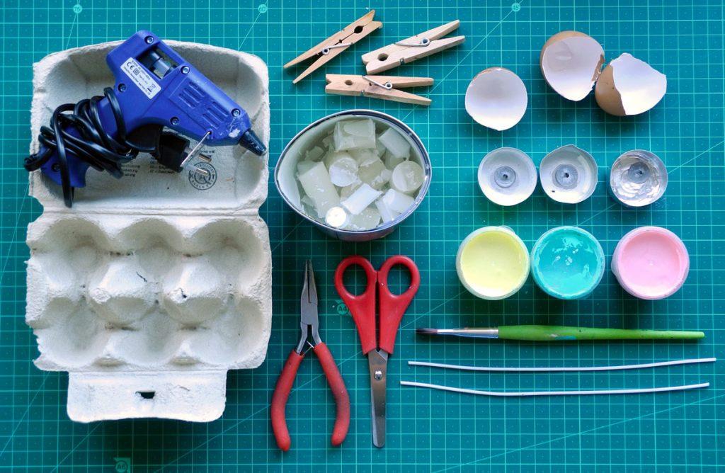 Eierschalen-Kerzen für den Ostertisch, Materialübersicht