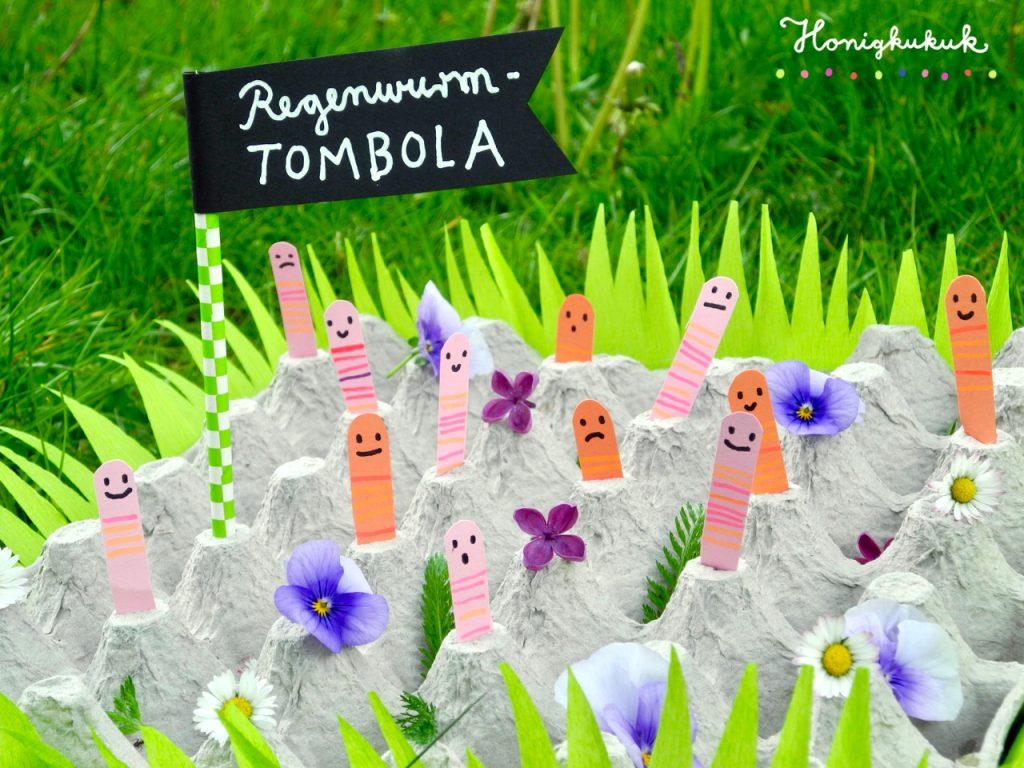 Kindergeburtstagsspiele für die Gartenparty, Upcyclingideen zum Spielen, Regenwurm-Tombola