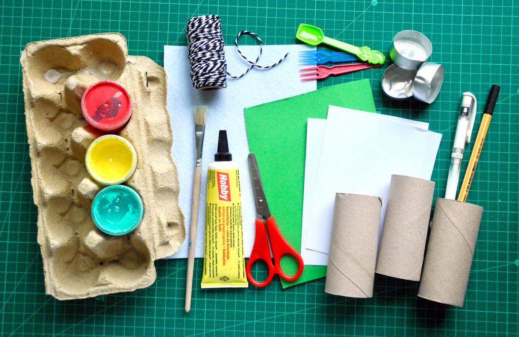 Upcyclingideen Kindergeburtstag, Gartenparty, Materialübersicht fürEinladung