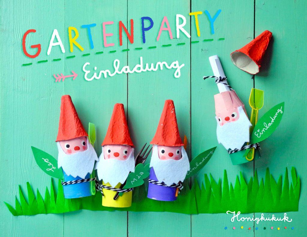 Upcyclingideen Kindergeburtstag, Gartenparty, Einladung, Bastelanleitung