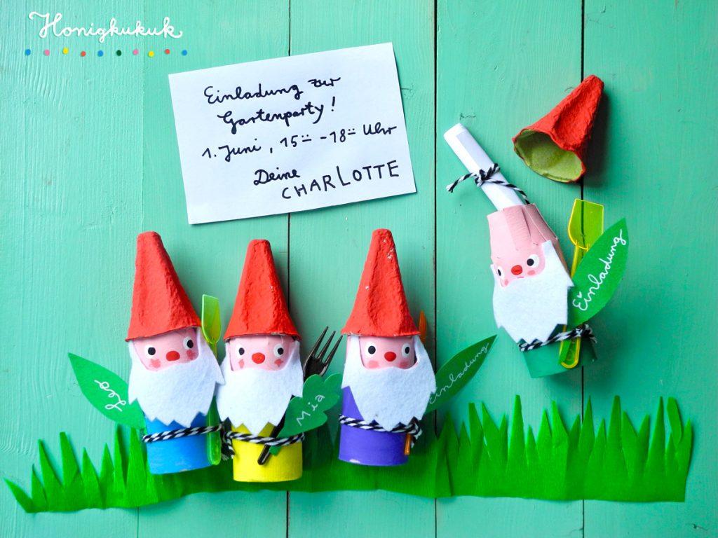 Upcyclingideen Kindergeburtstag, Gartenparty, Gartenzwerg-Einladung