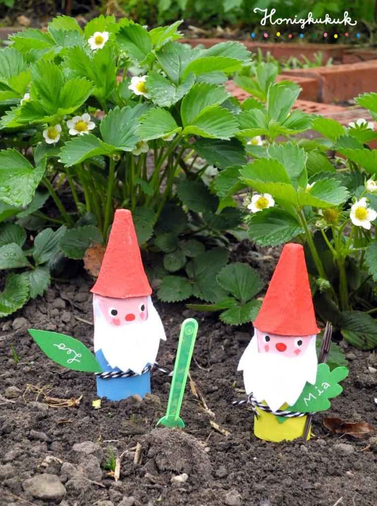 Upcyclingideen Kindergeburtstag, Gartenparty, Gartenzwerge im Garten