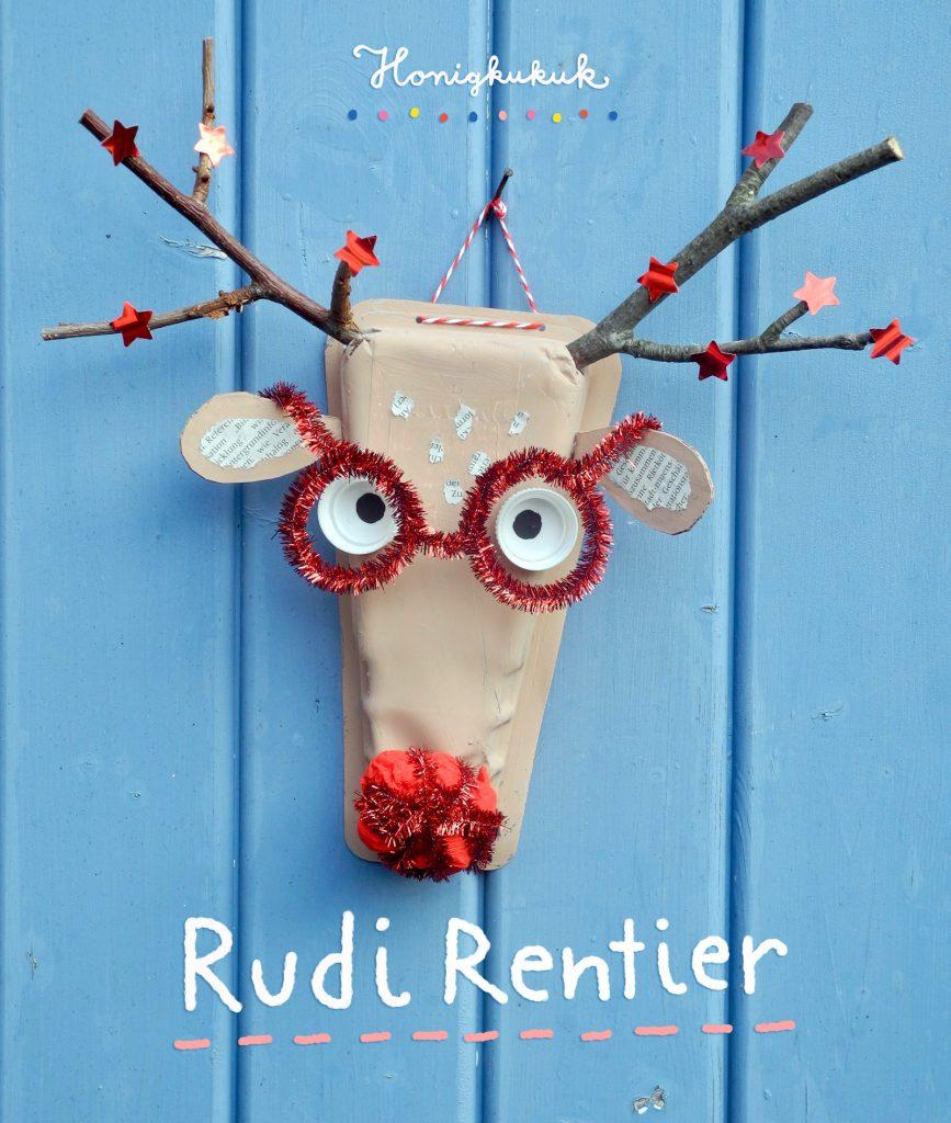 Rudi Rentier basteln, Weihnachtsdeko, Bastelanleitung