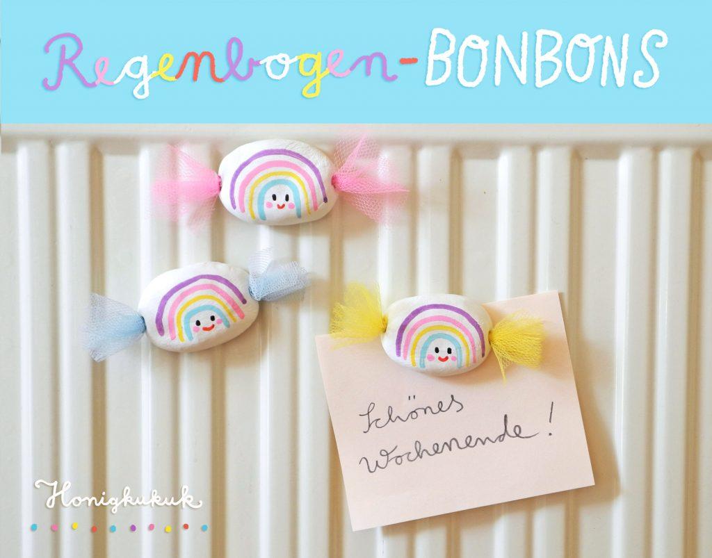 Regenbongen-Bonbons aus Modelliermasse basteln
