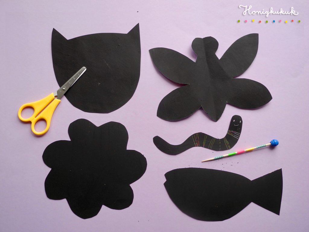 Formen schneiden aus Kratzpapier