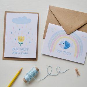 Grußkarten zur Taife, Motive Fisch mit Regenbogen und Blumemit bunten Regentropfen
